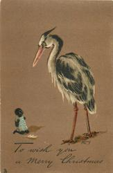 TO WISH YOU A MERRY CHRISTMAS  large stork, small black child in blue