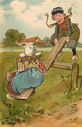 Dutch boy and girl on see-saw