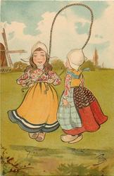 two Dutch girls skipping