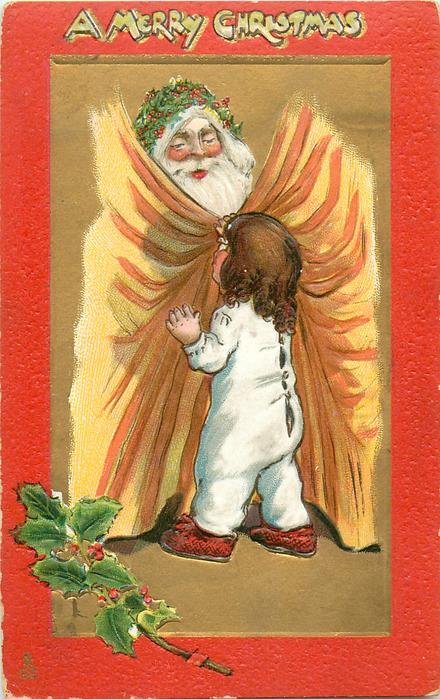 A MERRY CHRISTMAS  santa looks over curtain at child, red borders