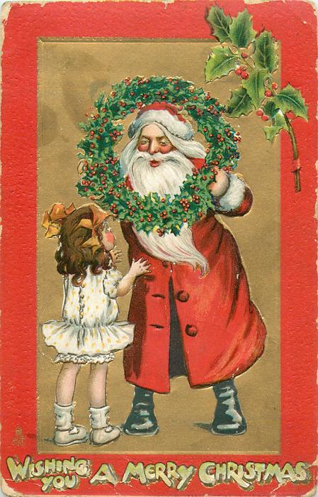 WISHING YOU A MERRY CHRISTMAS  santa looks through wreath at girl, red borders