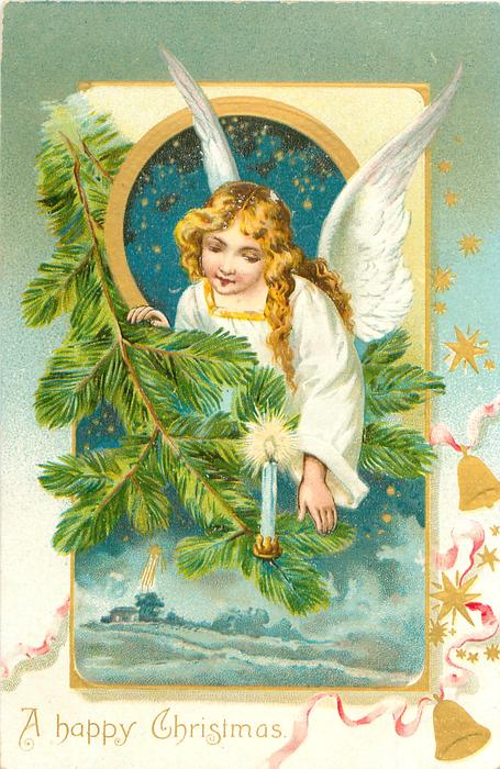 A HAPPY CHRISTMAS angel in white above evergreen, winter landscape below