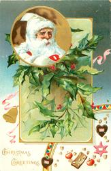 CHRISTMAS GREETINGS inset head & shoulders of white coated Santa in front of much holly, nuts, apples, below right
