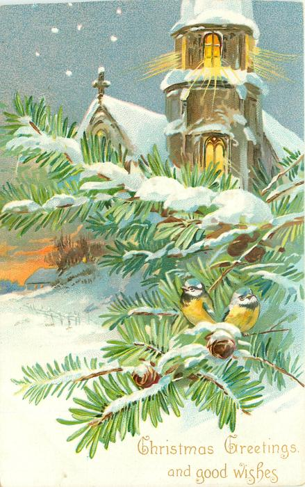 CHRISTMAS GREETINGS AND GOOD WISHES snowy lighted church behind evergreen with two blue tits perched