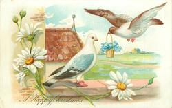 A HAPPY CHRISTMAS, pigeon flying with basket of forget-me-nots to mate perched on wall daisies front