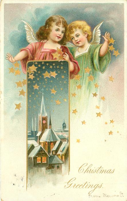 angel left in red dress & angel right in green scatter stars over lighted village inset below