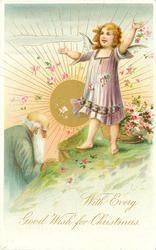 angel standing right in front of basket of flowers that she scatters, Father Time left,