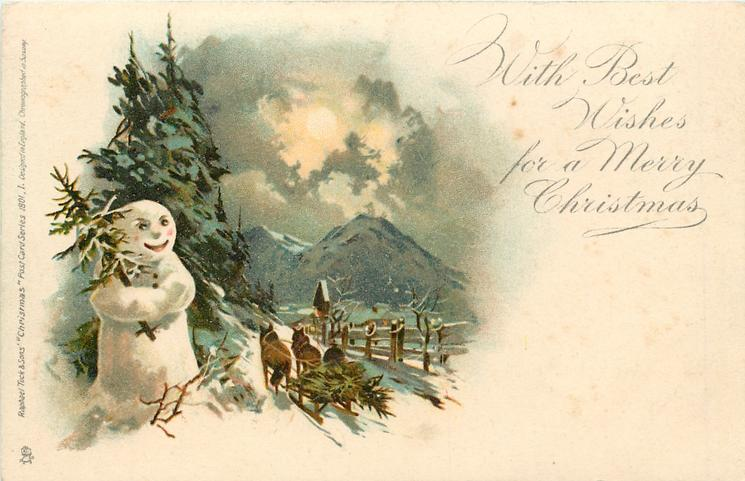 WITH BEST WISHES FOR A MERRY CHRISTMAS  snowman left, sleigh moves away