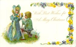 WITH BEST WISHES FOR A MERRY CHRISTMAS he kneets to offer her a yellow rose