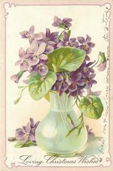 LOVING CHRISTMAS WISHES violets in & behind clear glass vase