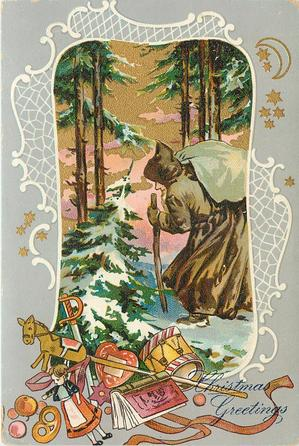 inset of brown coated Santa carrying white sack & stout stick in snowy woods, toys below in margin, stars in margins