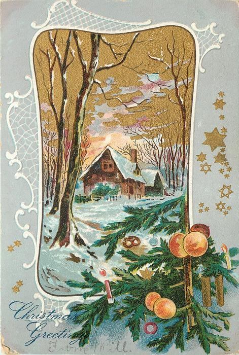 inset of house in snowy woods evergreen & two oranges front right, gilt stars in margins