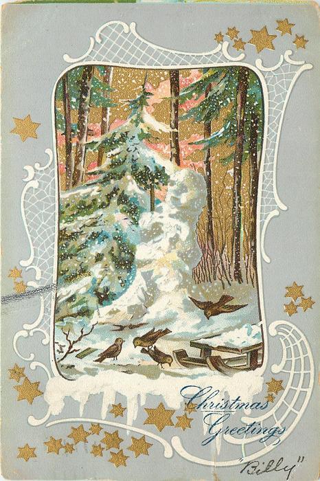inset of snowman beside snowy evergreen, trees back, gilt stars on margins