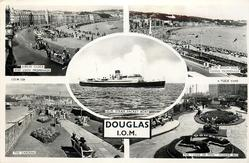 DOUGLAS I.O.M., 5 insets  JUBILEE CLOCK AND LOCH PROMENADE/THE BEACH AND HARRIS PROMENADE /I.O.M STEAM PACKET BOAT/ THE GARDENS/ THE LEGS OF MAN FLOWER BED
