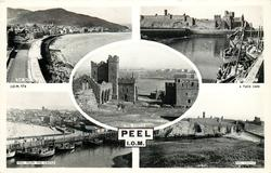 PEEL, I.O.M. 5 insets, THE BAY/ PEEL CASTLE/ PEEL CASTLE/ PEEL FROM THE CASTLE/ PEEL CASTLE