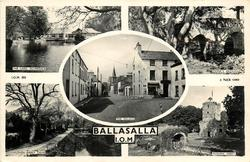 BALLASALLA, I.O.M., 5 insets THE LAKE, SILVERDALE/MONK''S BRIDGE/THE VILLAGE/RUSHEN ABBEY DRIVE/RUSHEN ABBEY