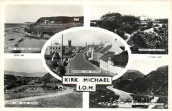 KIRK MICHAEL, I.O.M. 5 insets BEACH FROM GLEN WYLLIN/LOOKING TO BALLYRE/ENTERING KIRK MICHAEL /THE LAKE GLEN WYLLIN/ROAD TO THE SHORE GLEN MOOAR