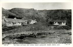 THE MANX COTTAGES AND FLORRIE FORDE'S BUNGALOW, NIARBYL BEACH, I.O.M.