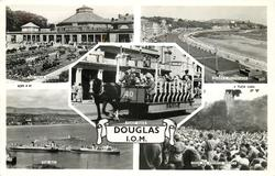 5 insets DOUGLAS, I.O.M. THE VILLA MARINA/QUEEN'S PROMENADE/TOAST RACK/THE BAY/ OPEN AIR CHURCH SERVICE