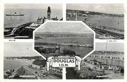 5 insets DOUGLAS, I.O.M., THE LIGHTHOUSE/HARRIS PROMENADE/THE HARBOUR/PORT JACK ONCHAN/THE GARDENS