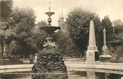 VICTORIA PARK, SHOWING MONUMENT AND FOUNTAIN
