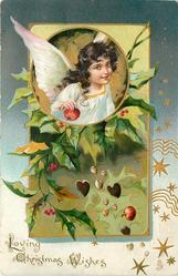 LOVING CHRISTMAS WISHES round inset of angel holding fruit, hearts and plant below