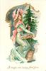 A BRIGHT AND HAPPY NEW YEAR  woman in green/pink holds basket of tree ornaments