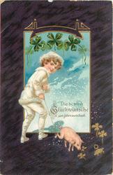 DIE BESTEN GLUCKWUNSCHE ZUM JAHRESWECHSEL boy in white suit with pig on string