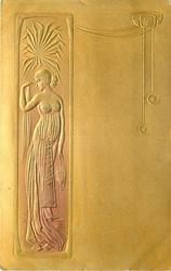 full length Egyptian pose in narrow inset panel left, she faces front looking back over her shoulder holding a leaf in her right hand