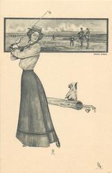 golf inset above girl using driver, terrier & golf-bag below