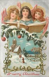 A MERRY CHRISTMAS  three angels sing above snow scene of people going up-hill to church