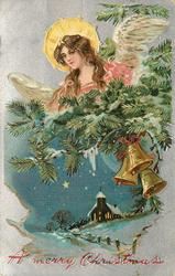 A MERRY CHRISTMAS  angel above evergreen, three bells below right, church below