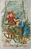 CHRISTMAS GREETINGS  two children by sleigh carrying holly, one blows to warm hands