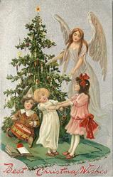 BEST CHRISTMAS WISHES  angel in lilac to right of tree, three children in front