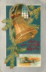 WISHING YOU A HAPPY CHRISTMAS  large bell below small window, snowy  insert below