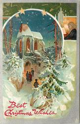 BEST CHRISTMAS WISHES  four people walk up snowy path to lighted church, evergreeens around