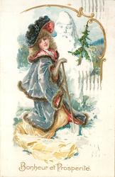 BONHEUR ET PROSPERITE  pretty woman with spade in her right hand, snowman with tree behind  snowman