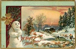 rural, gilt clovers, snowman left, snow scene, two people approach distant watermill