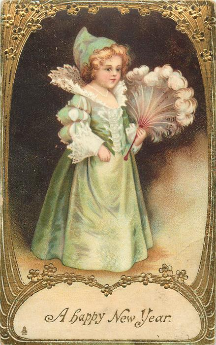 A HAPPY NEW YEAR  girl with ostrich feather fan facing right