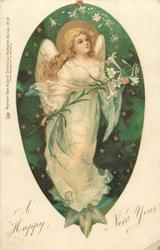 A HAPPY NEW YEAR  angel holds Easter lily, facing right/front, starry green background