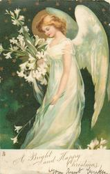 A BRIGHT AND HAPPY CHRISTMAS  angel holds Easter lilies facing left, starry background