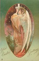 GLAD EASTER GREETING  angel holding up cross