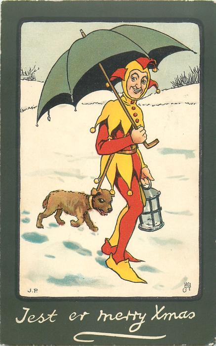 JES TER MERRY XMAS  jester with umbrella, dog follows in the snow