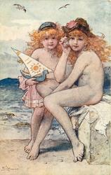 A SONG OF THE SEA  two nude children on beach, one holds toy boat