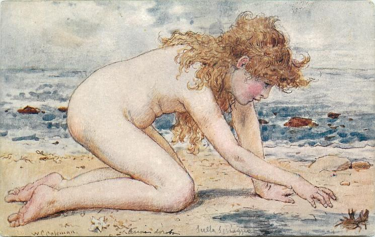 ON THE GOLDEN SANDS  nude child kneels on beach, is going to pick up crab