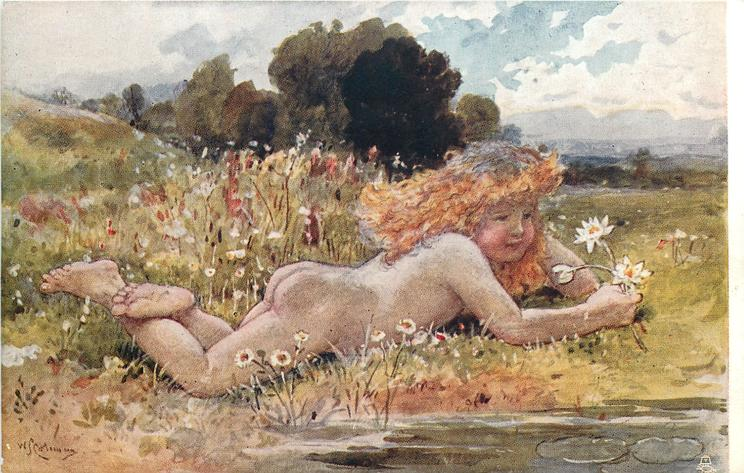 WILD FLOWERS  nude child lies face down on bank, holding daisies in right hand