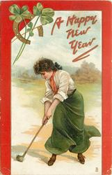 clovers, woman strikes ball with golf club, horseshoe upper left