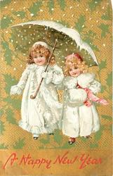 children, two girls in white coats under umbrella in snow, one wears muff