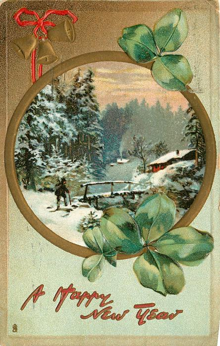 rural, round inset, clovers, snow scene, man using cane approaches bridge to cottage, gilt bells upper left