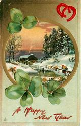 rural, round inset, snow scene, two people approaching distant watermill,  two red horseshoes upper right